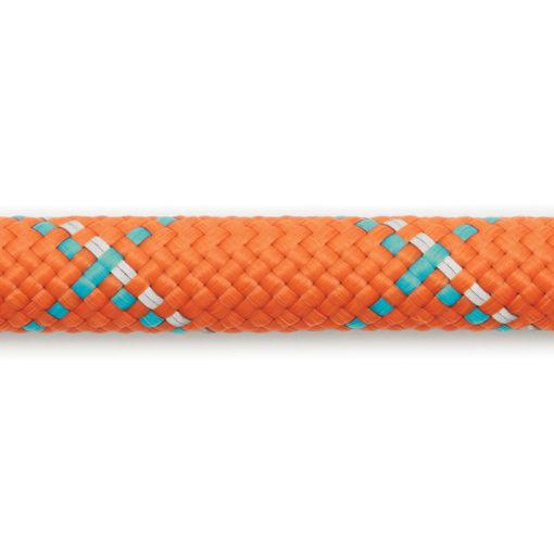 Close up of The Ruffwear Knot-a-Long™ rugged short dog leash / dog lead in Pumpkin Orange.