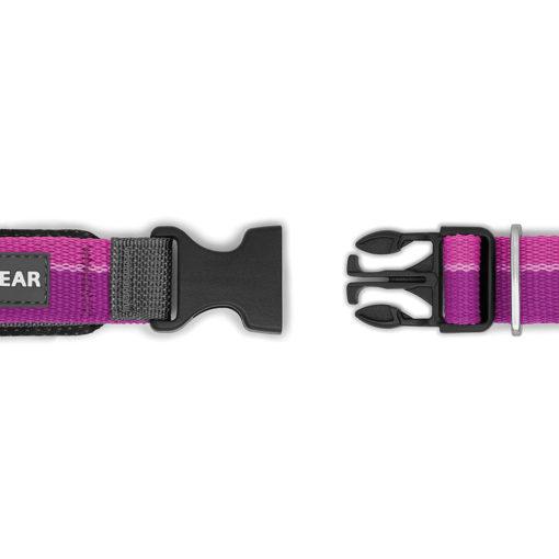 The Ruffwear Roamer Leash buckle in purple, open.